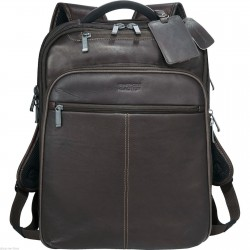 "Kenneth Cole Executive Colombian Leather 17"" Laptop / MacBook Pro Backpack  -New"